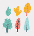 isolated cartoon trees and bushes pack on white vector image