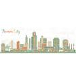 kansas city missouri skyline with color buildings vector image