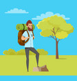 man hiking green nature travel hob vector image vector image
