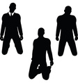 man silhouette in sorrowful pose vector image vector image