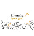 online education e-learning concept sketch doodle vector image