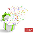 Open Giftbox with Confetti Background vector image vector image