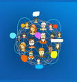 people communicating via global web network vector image