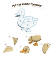 Puzzle game for chldren duck vector image vector image