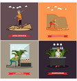 set of archaeology concept posters in flat vector image vector image