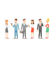 set of business people with vector image