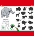 shadows game with elephant characters vector image vector image