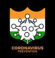 shield india coronavirus prevention india flag vector image