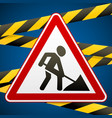 sign repair works and barrier tapes vector image vector image