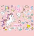 sticker pack cute cartoon party unicorn vector image