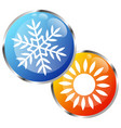 sun and snowflake air conditioner design vector image