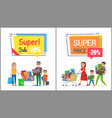 super sale with nice price promotional posters vector image