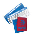 tickets and passport for travelling abroad vector image