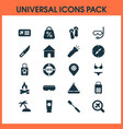 travel icons set with yacht toothbrush suitcase vector image