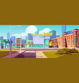 urban street landscape with shopping mall houses vector image vector image