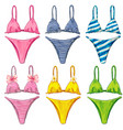 watercolor colorful bikini swimsuit collection vector image vector image