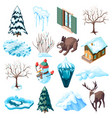 winter landscaping isometric icons vector image