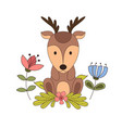 woodland animals with cartoon hand drawn forest vector image vector image