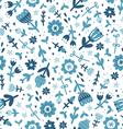 Blue floral print pattern vector image