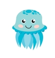 Cute happy jellyfish cartoon character sea animal vector image