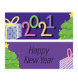 2021 happy new year banner decorative tree gift vector image vector image