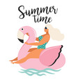 abstract summer time card with vector image vector image
