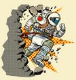 astronaut breaks the wall vector image vector image