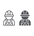 auto mechanic line and glyph icon car and person vector image vector image