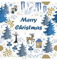 awesome winter merry christmas card with house vector image
