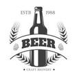 beer logo for craft brewery with bottle and barley vector image vector image