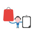 businessman holding shopping bag and clipboard vector image