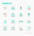 cardiology thin line icons set vector image vector image