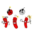 Cartoon danger bombs and dynamite vector image