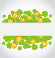 celebration card with clovers and golden coins vector image vector image