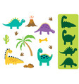 find the correct shadow adorable dinosaurs vector image vector image