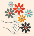 Flat Design Retro Flowers in Hand vector image vector image