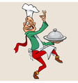 funny cartoon chef holding meal and walks vector image