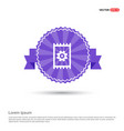 gear icon - purple ribbon banner vector image