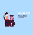 graduation concept girl and boy students standing vector image