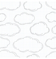 Hand drawn clouds on squared paper vector image vector image