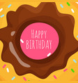 happy birthday background with sweet cartoon donut vector image