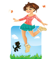 Happy Girl Jumping vector image vector image