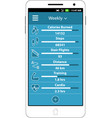 health and fitness smart phone application vector image vector image
