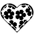 heart love flower sakura traditional pattern vector image vector image