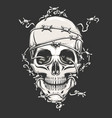 human skull in barbed wire vector image vector image