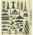 icons of the city landmark world vector image
