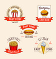 icons set for fast food restuarant vector image vector image