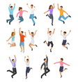 jumping people happy woman or man character vector image