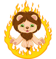 lion and ring of fire vector image vector image