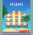 miami city travel retro poster vector image